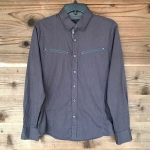 G by Guess Gray Pinstriped Button Down Shirt XS